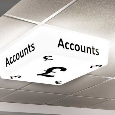 Accounts Sign - LED light on