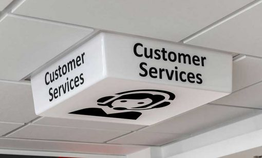 Customer Service Sign - LED light off