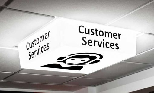 Customer Service Sign - LED light on