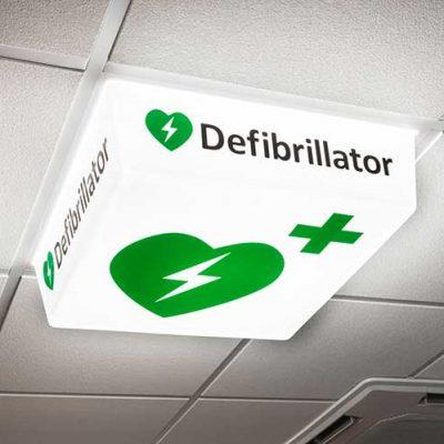 Defibrillator Sign - LED light on