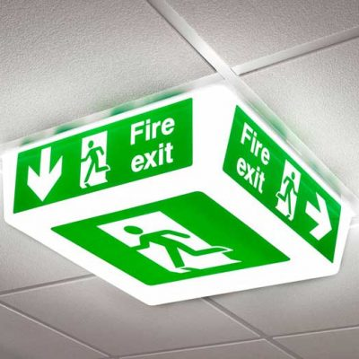 Fire Exit Sign - LED light on