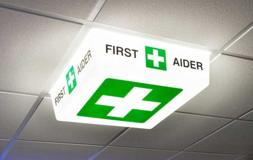 First Aider Sign - LED light on