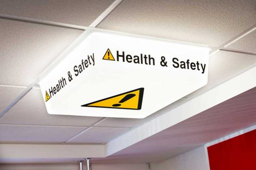 Health and Safety Sign - LED light on