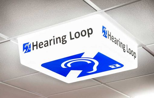 Hearing Loop Sign - LED light on