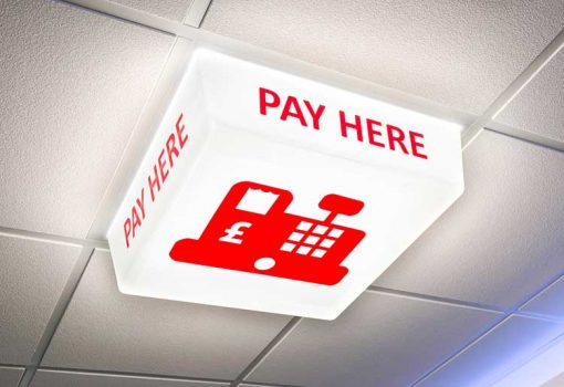 Pay Here Sign - LED light on