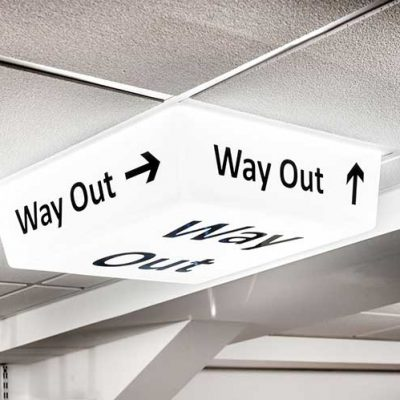 Way Out Sign - LED light on